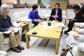 15日、山田修東海村長の「再稼働容認」発言の真意を確認する懇談を行いました